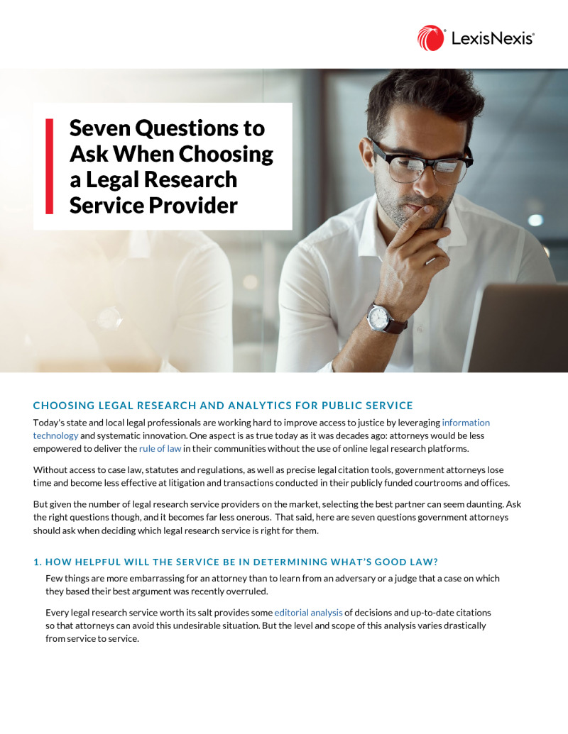 Seven Questions to Ask Your Government Legal Research Provider