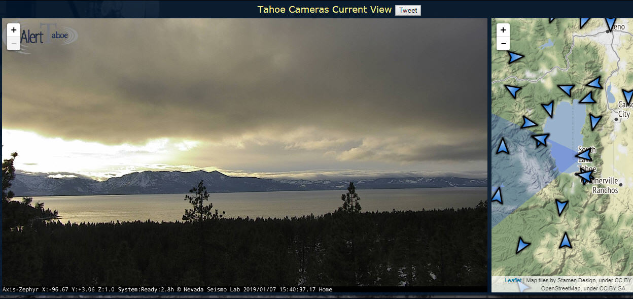 The Nevada Seismological Laboratory site hosts AlertWildfire footage from the Zephyr camera, overlooking Lake Tahoe.
