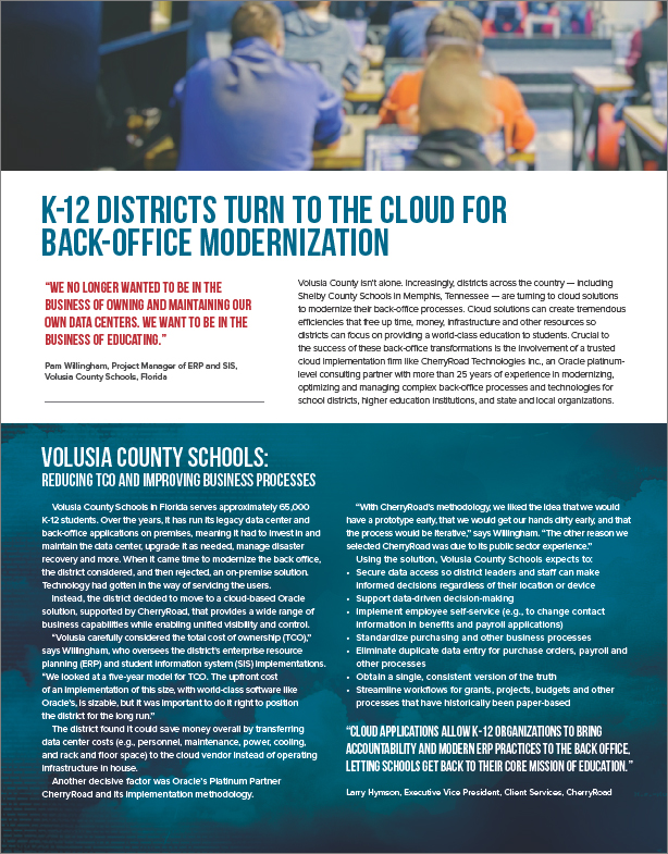 K-12 Districts Turn to the Cloud for Back-Office Modernization