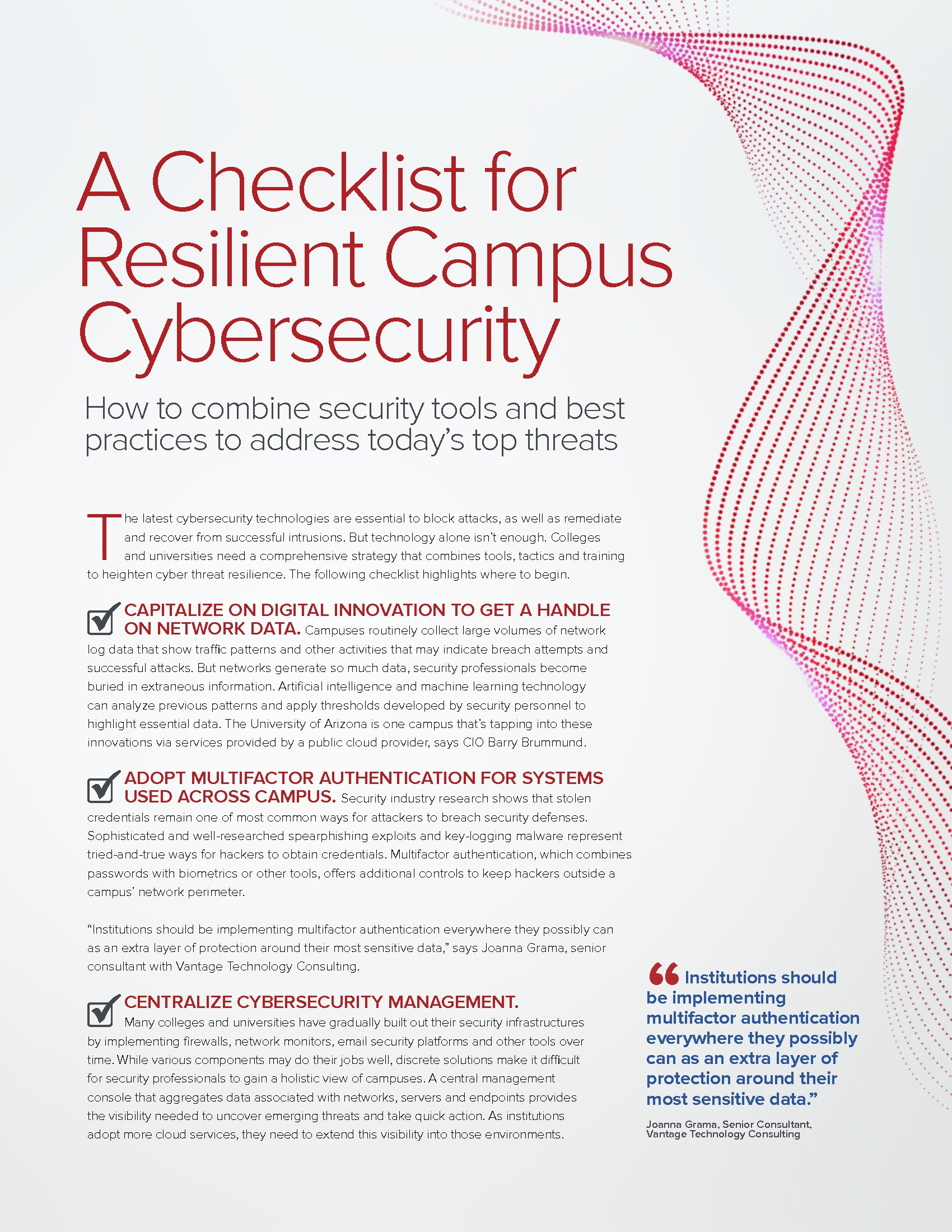 A Checklist for Resilient Campus Cybersecurity