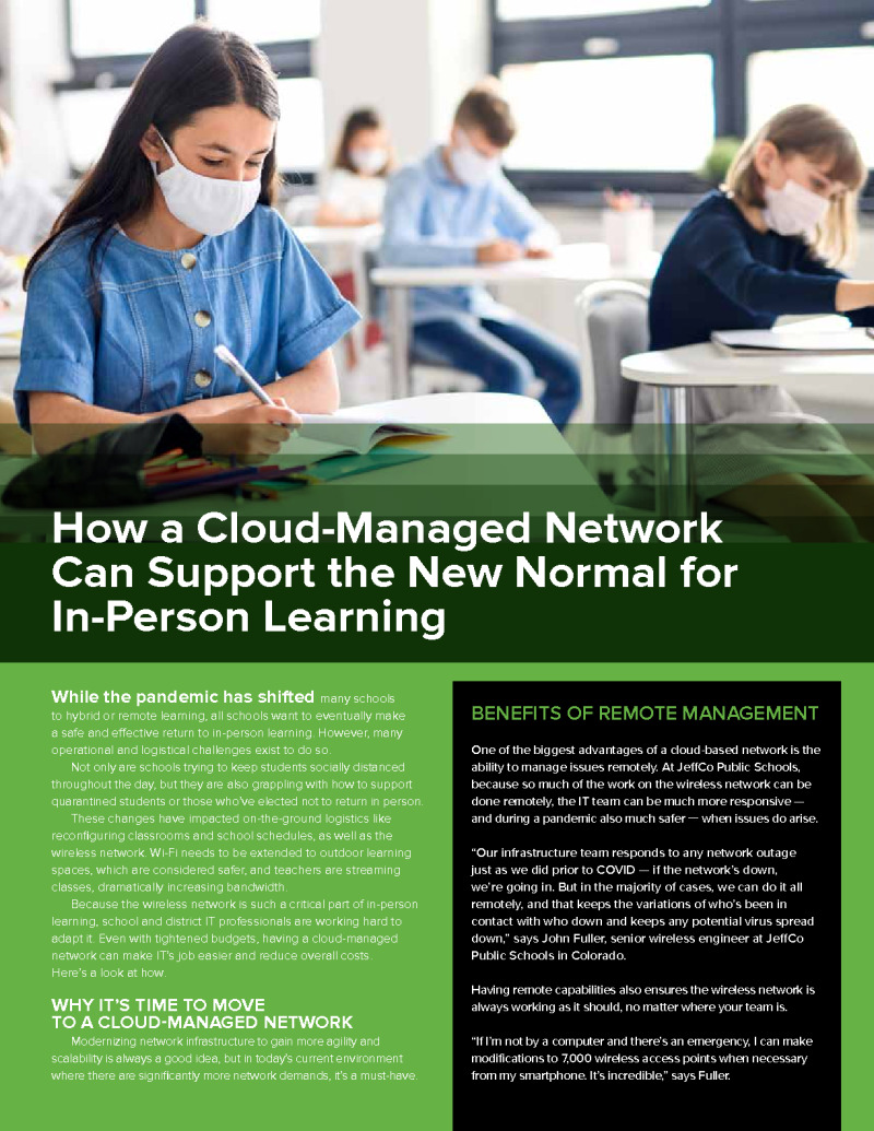 How a Cloud-Managed Network Can Support the New Normal for In-Person Learning
