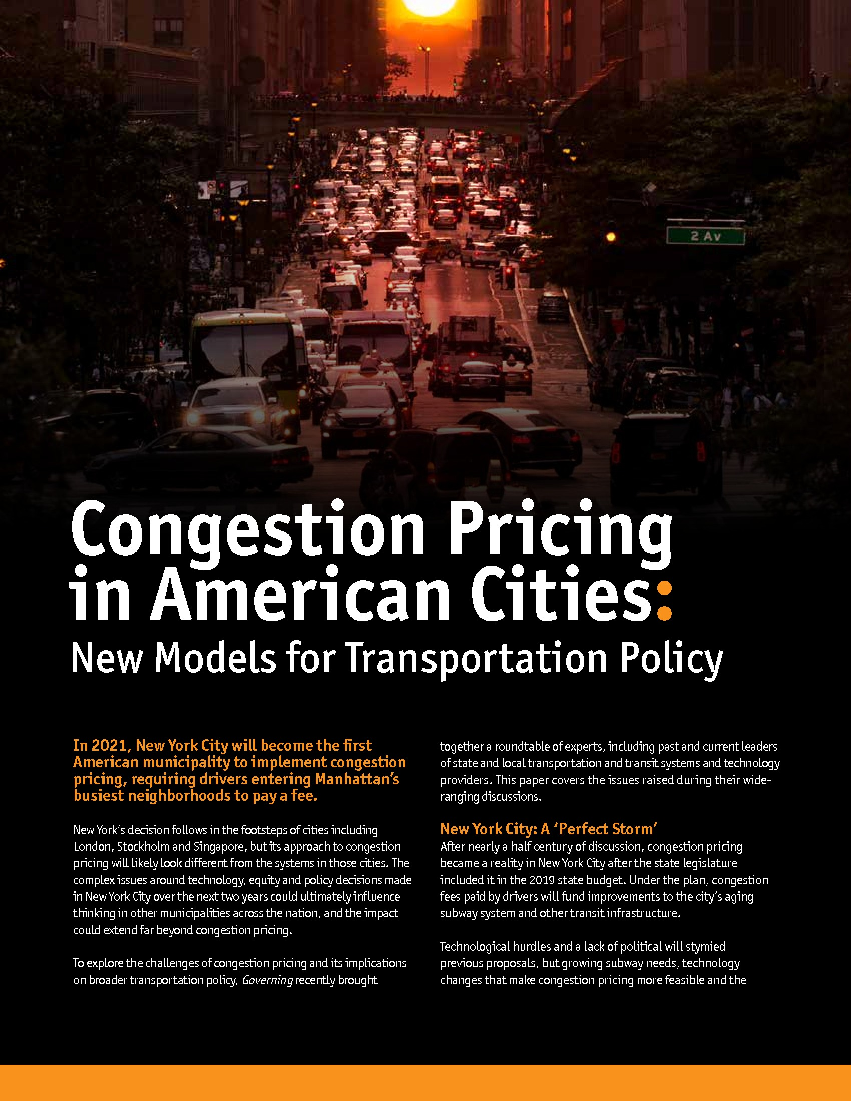 GT - Amazon - Issue Brief - 191011 - Congestion Pricing in American Cities