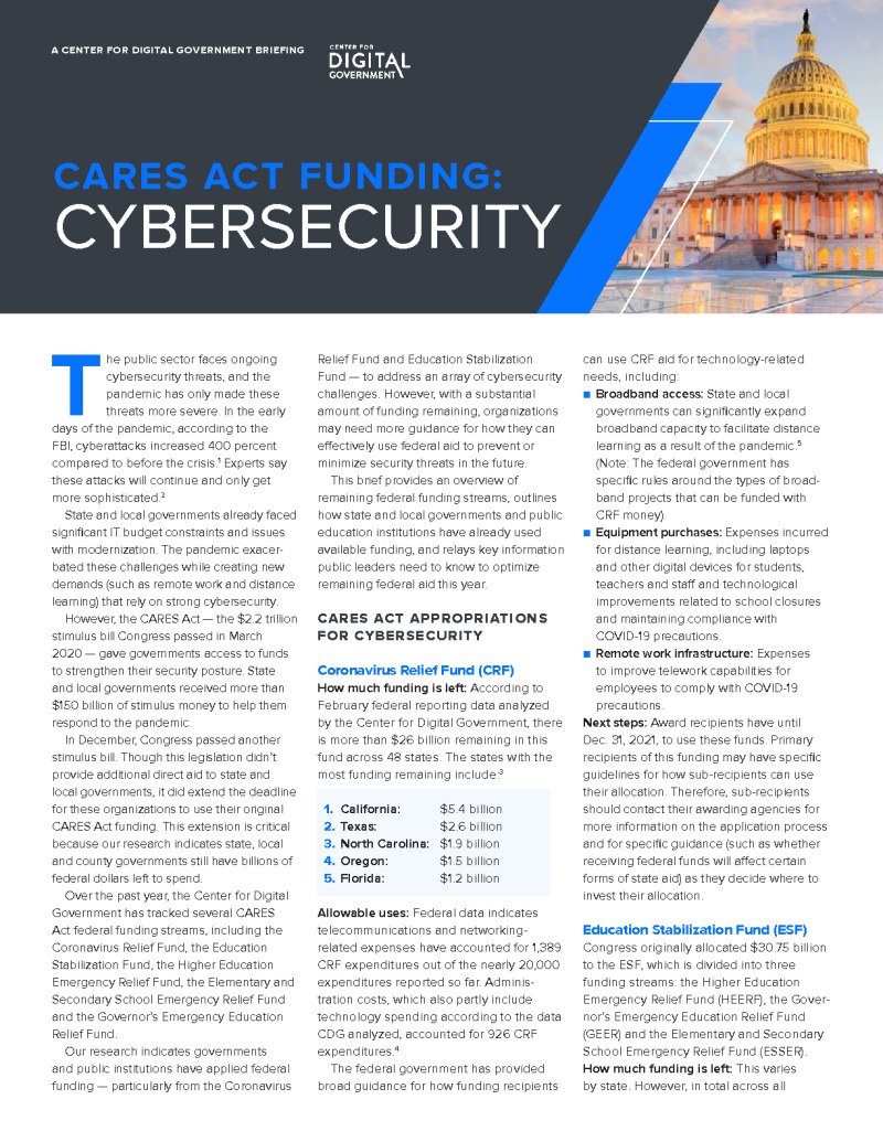Pandemic Funding for Cybersecurity: How States and Localities are Using Federal CARES Act Appropriations