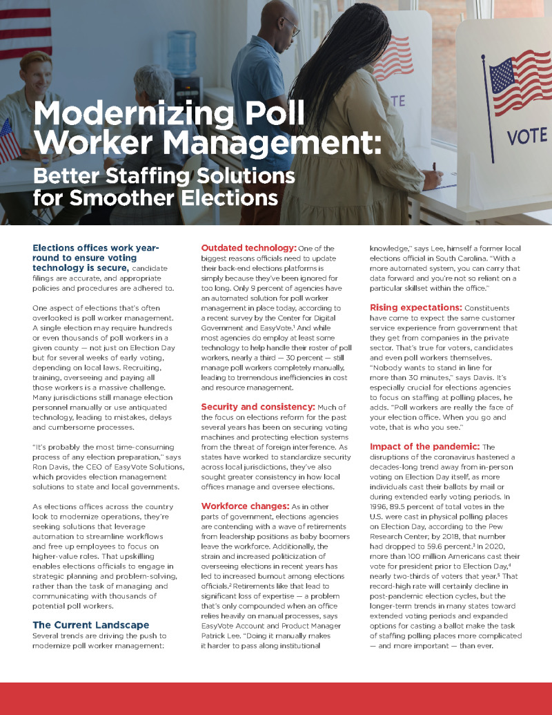 For Better-Managed Elections, State and Local Governments Focus on the People