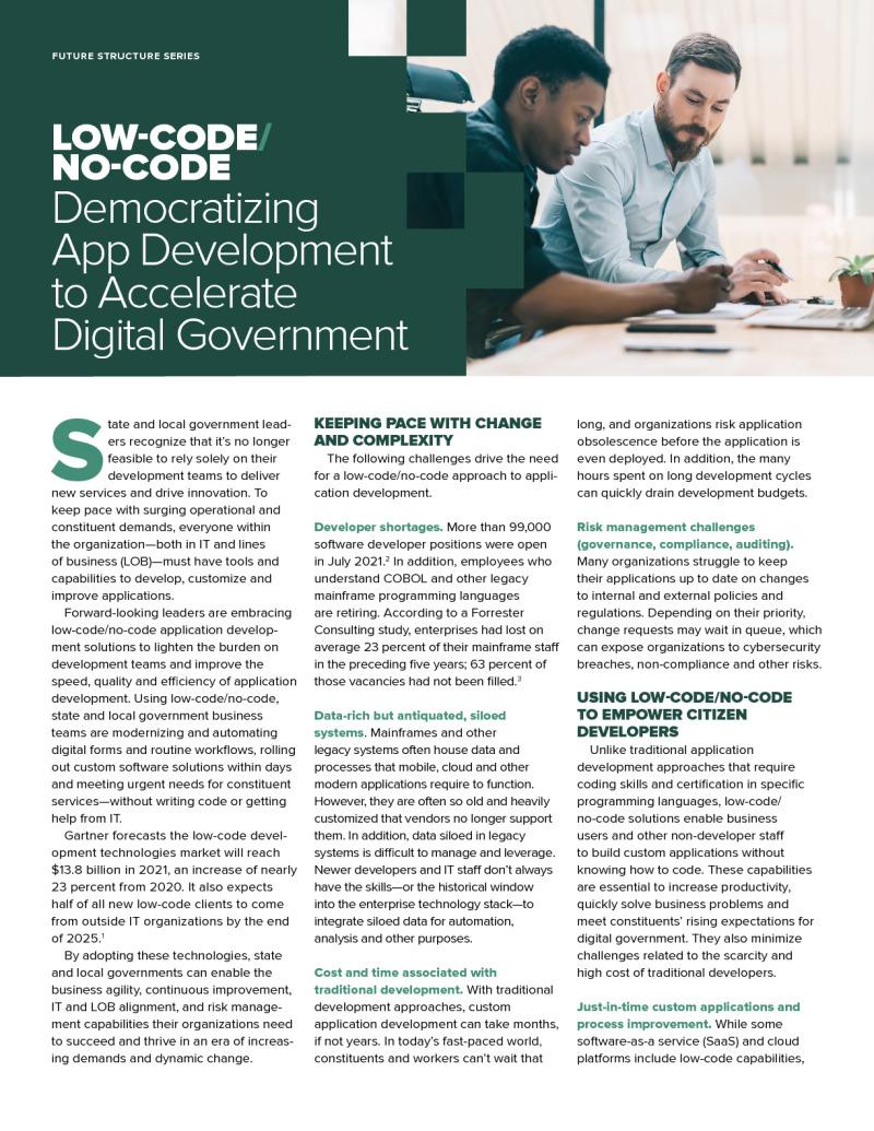 Low-Code/No-Code: Democratizing App Development to Accelerate Digital Government