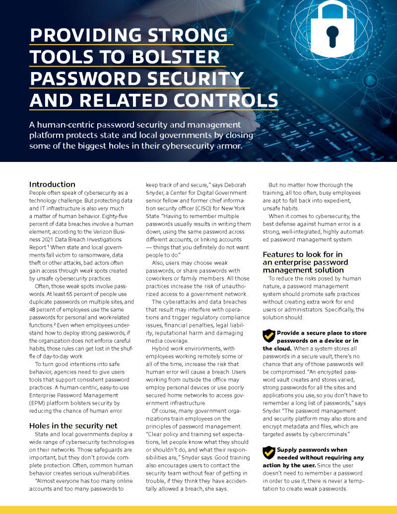 Providing Stronger Tools to Bolster Password Security and Related Controls