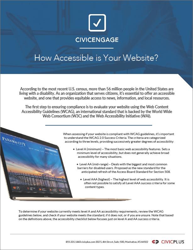 GOV - CivicPlus - 2018 Management Channel - Website Accessibility Checklist