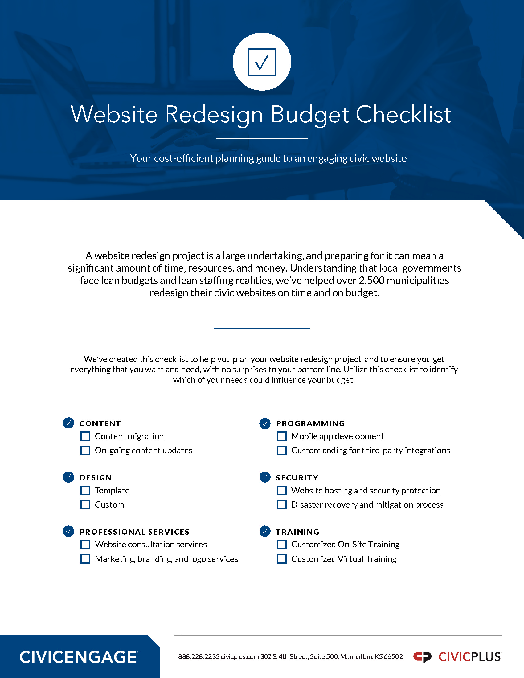 GOV - CivicPlus - 2018 Management Channel - Website Redesign Planning Toolkit