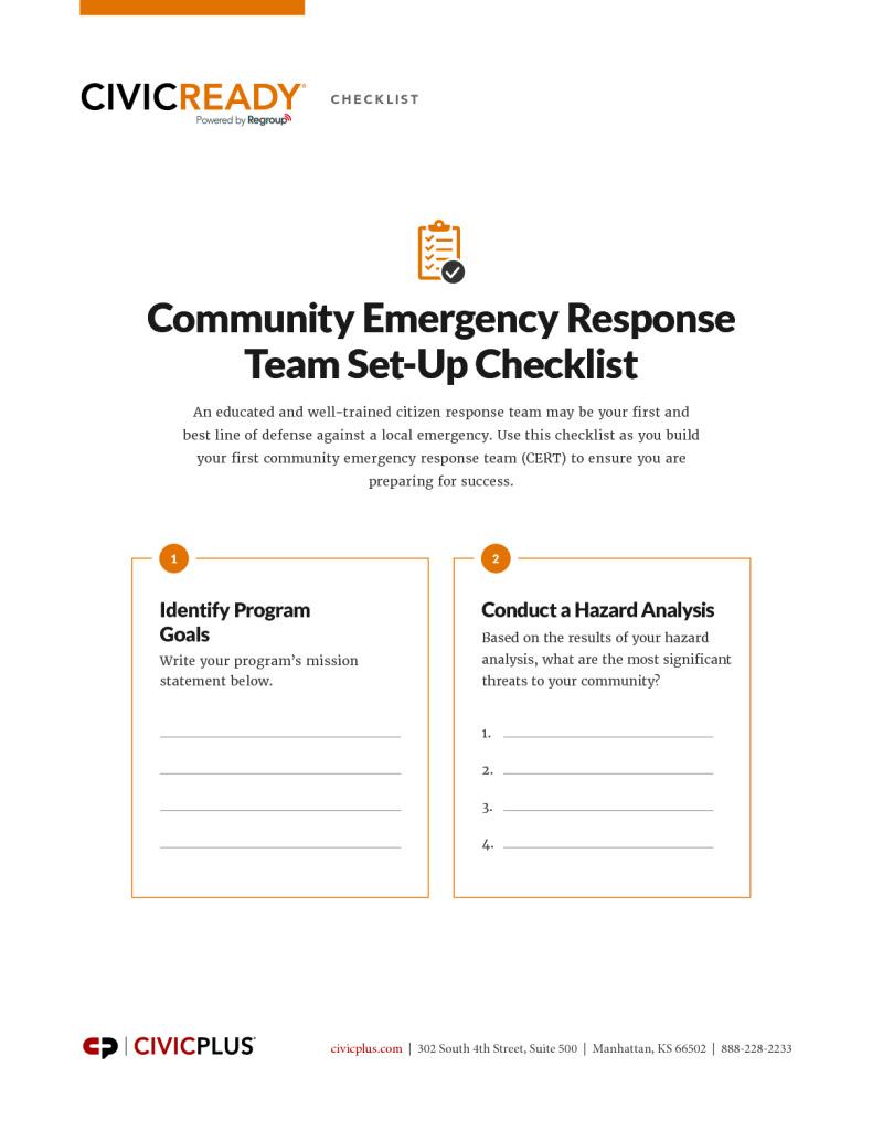Community Emergency Response Team Set-Up Checklist