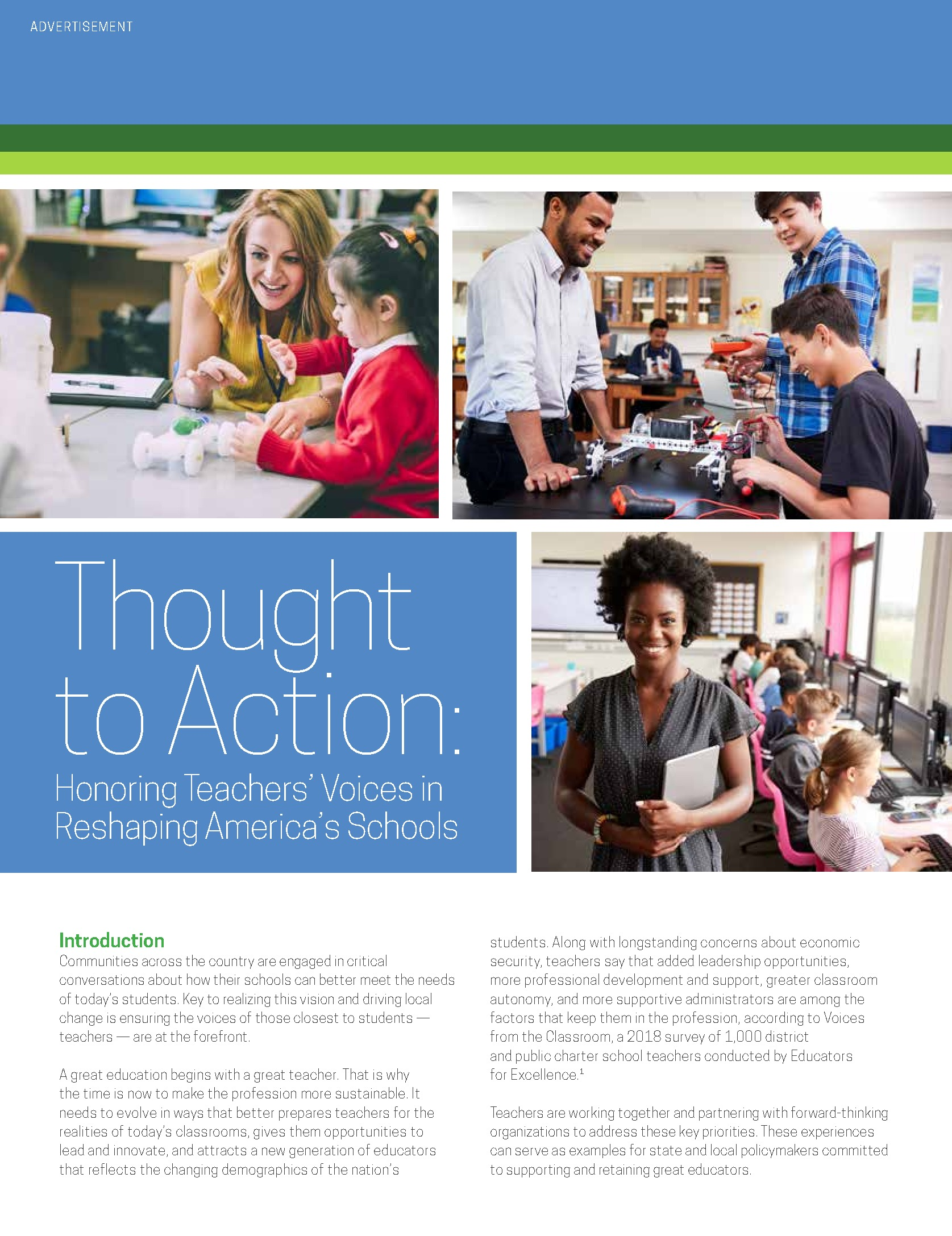 Thought to Action: Honoring Teachers' Voices in Reshaping America's Schools