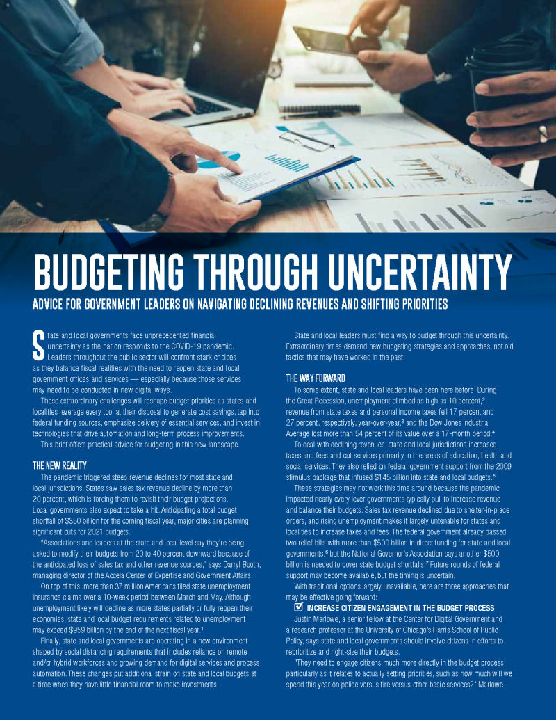 Budgeting Through Uncertainty
