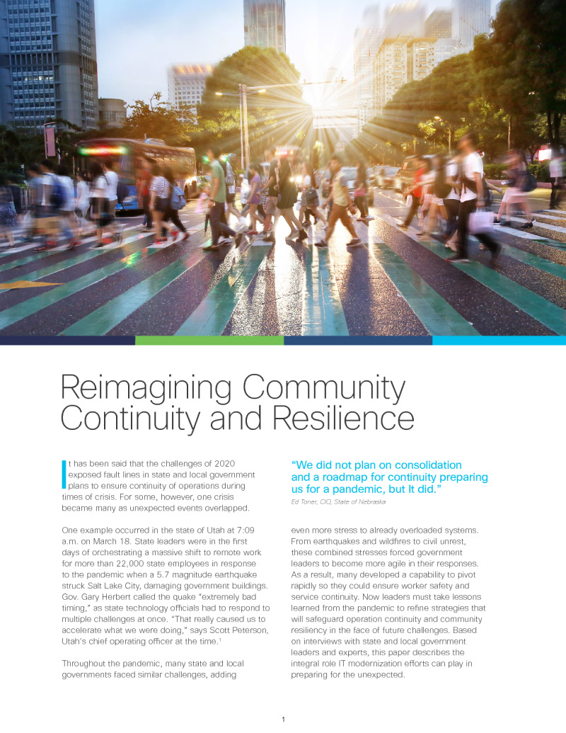 Reimagining Community Continuity and Resilience
