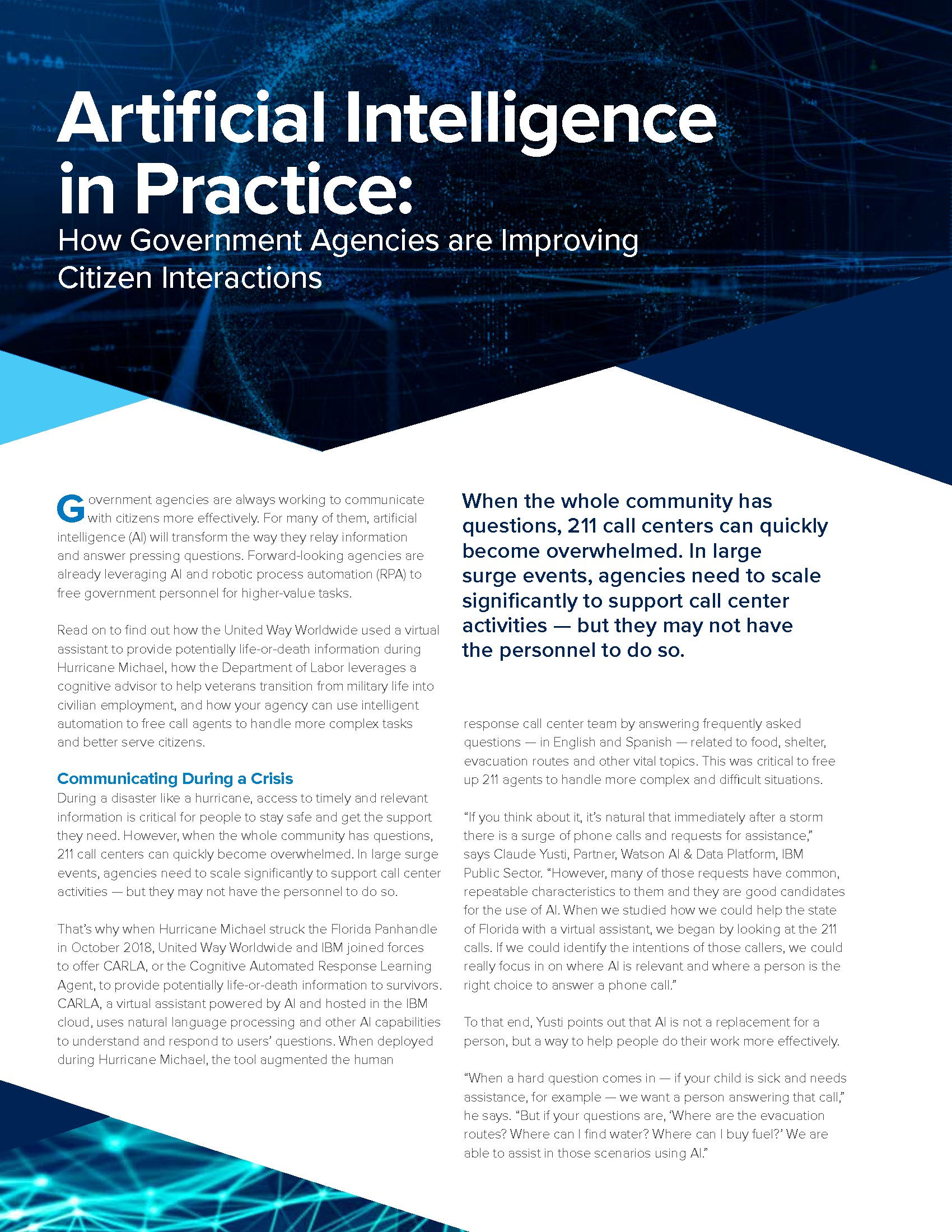 GT - IBM - Virtual Summit Issue Brief - 191118 - Artificial Intelligence