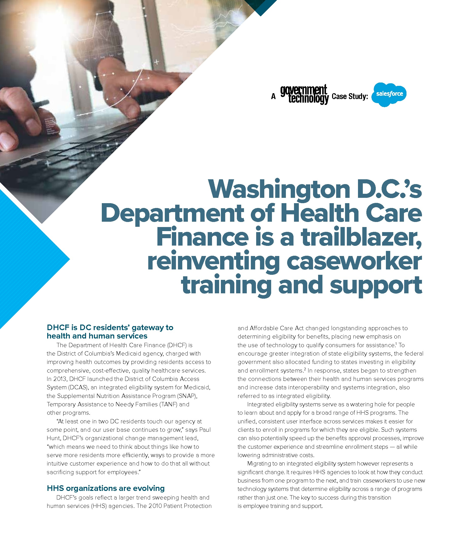 Washington D C S Department Of Health Care Finance Reinvents