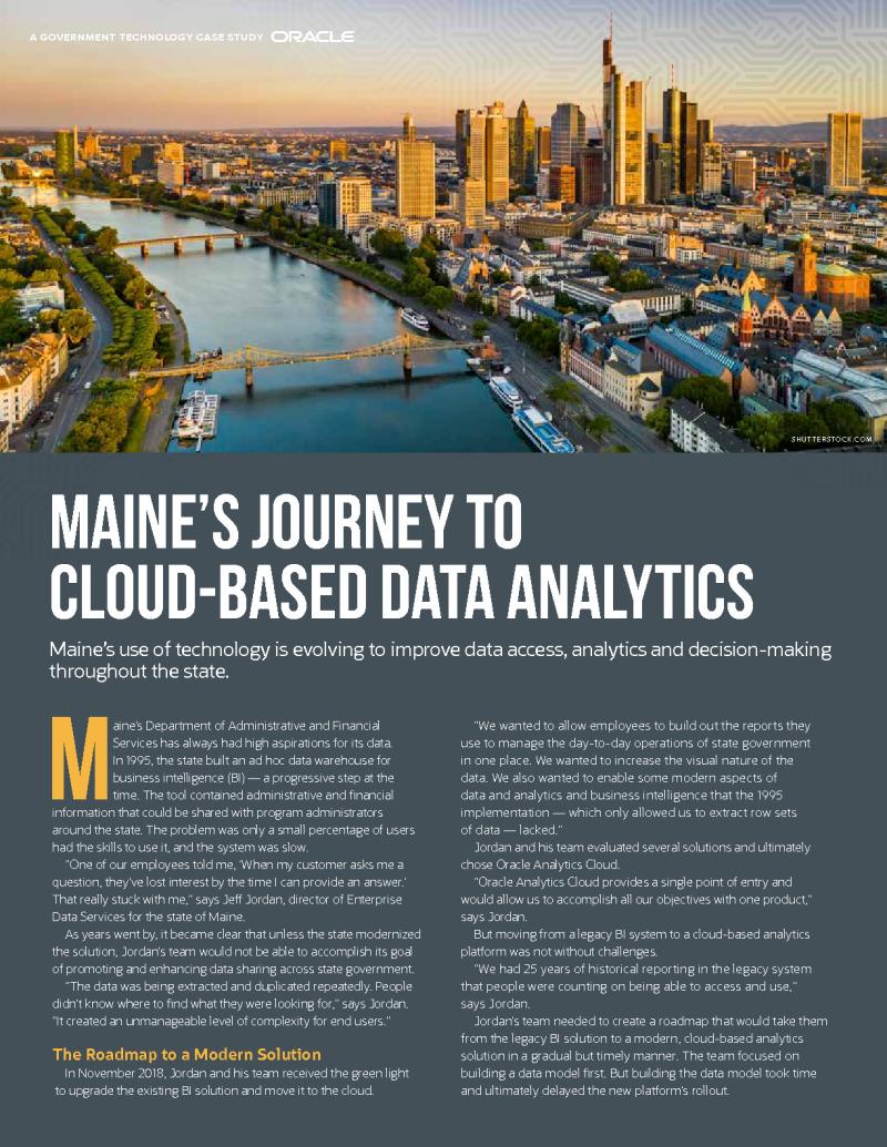 Maine's Journey to Cloud-Based Data Analytics