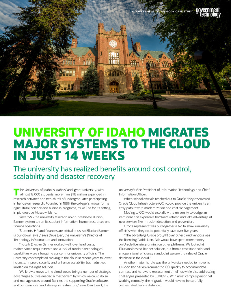 University of Idaho Migrates Major Systems to the Cloud in Just 14 Weeks