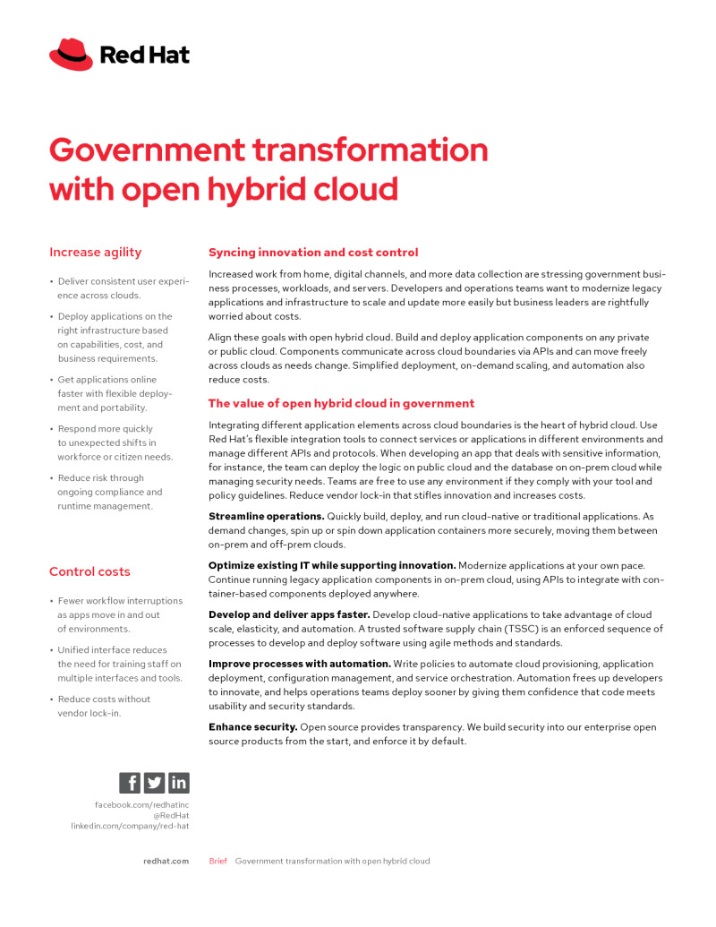 Government Transformation with Open Hybrid Cloud