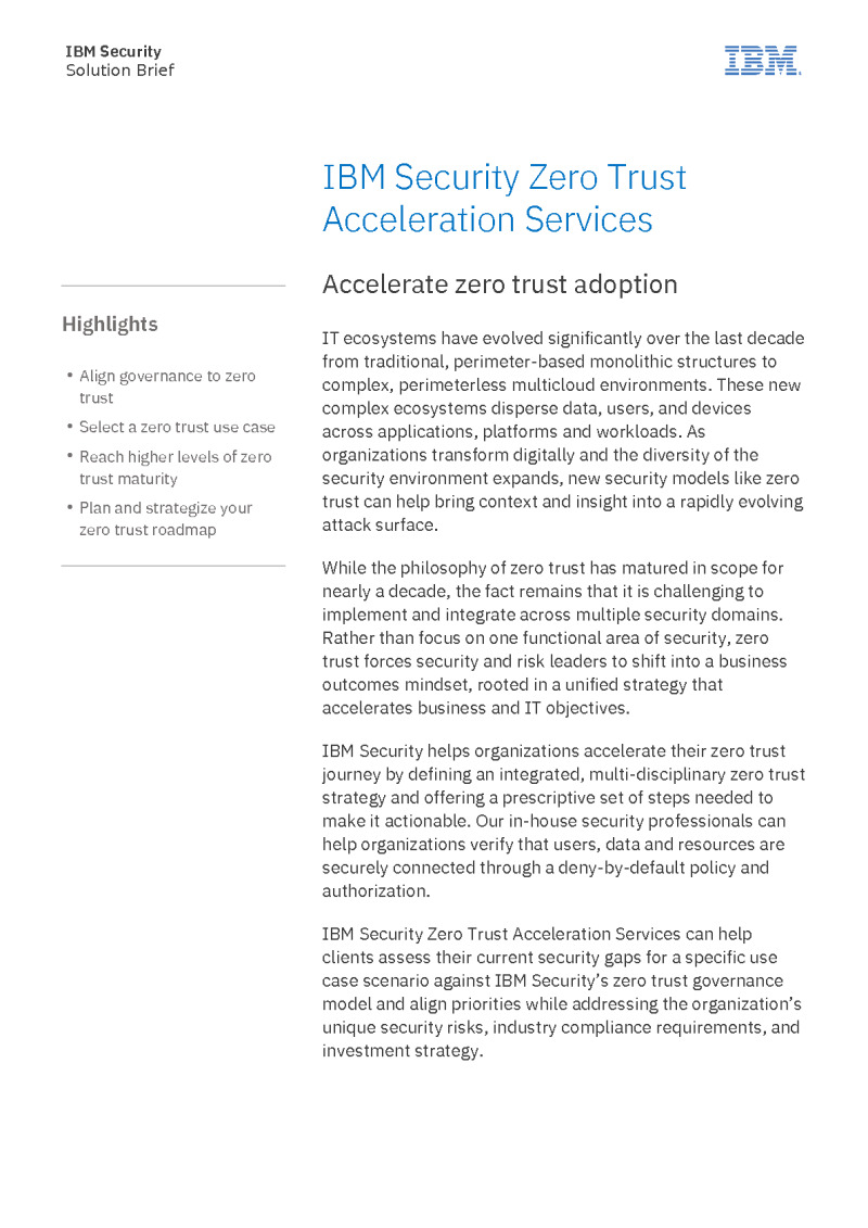 Security Zero Trust Acceleration Services