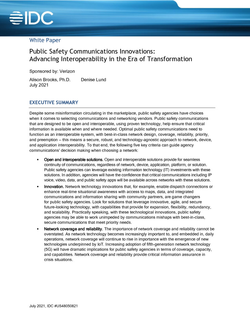 Public Safety Communications Innovations: Advancing Interoperability in the Era of Transformation