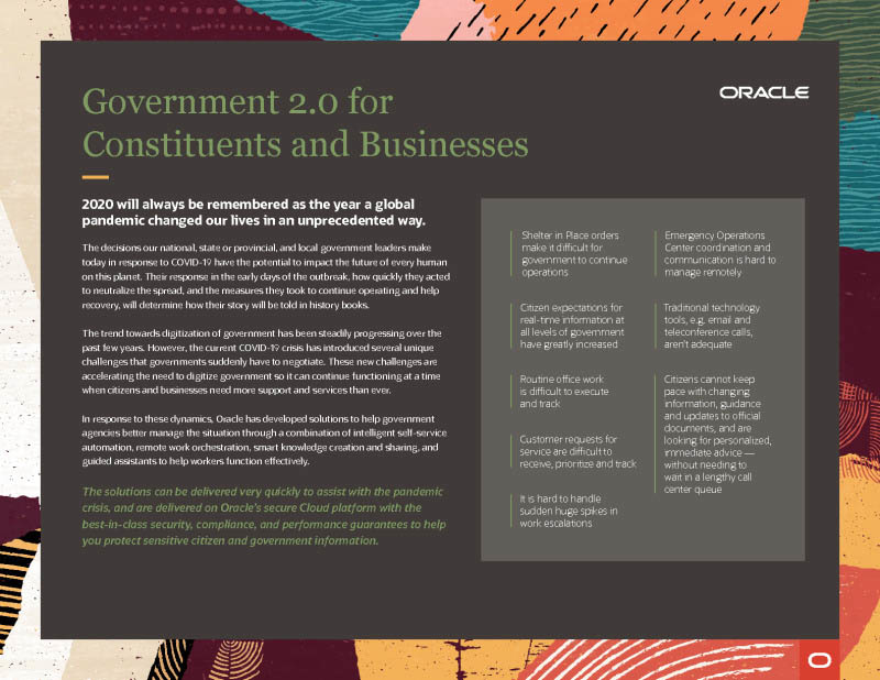 Government 2.0 for Constituents and Businesses