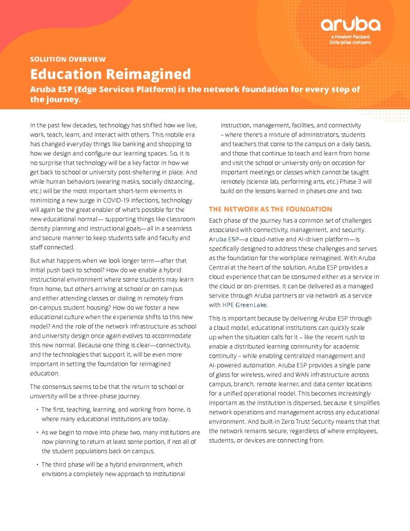 CDE - Aruba - Supplied - 200724 - Education Reimagined