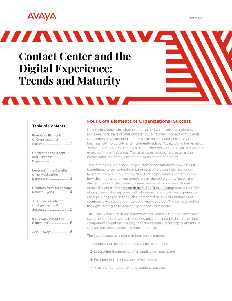Contact Center and the Digital Experience: Trends and Maturity