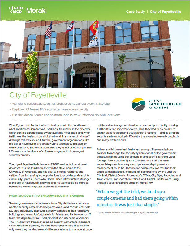 GT - Cisco - Client Supplied - 180402 - City of Fayetteville Uses Cameras