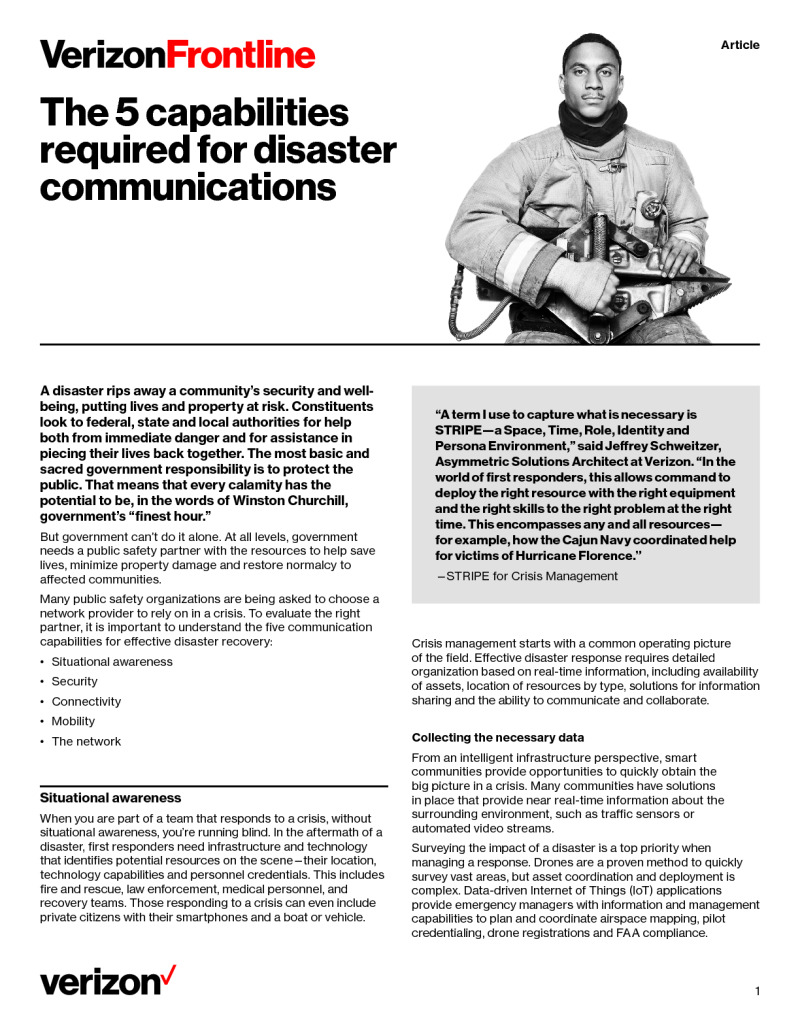 The 5 Capabilities Required for Disaster Communications